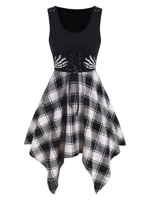 Skeleton Hand Plaid Handkerchief Corset Dress