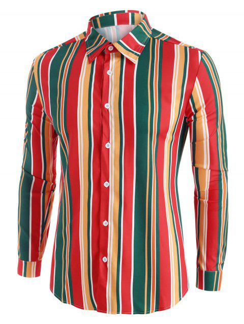 Colorful Striped Button Up Long Sleeve Shirt