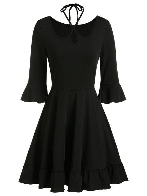 Halter Keyhole Bell Sleeve Flippy Hem Dress