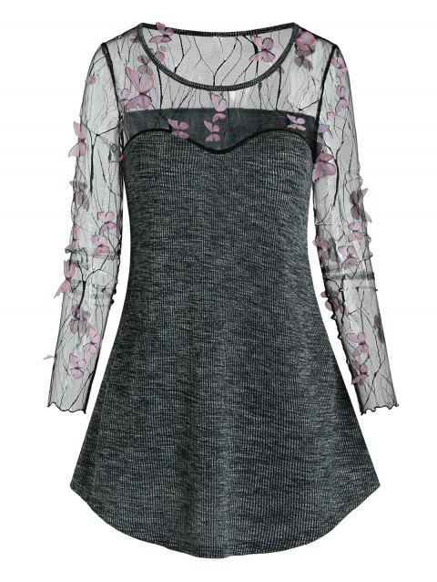 Sheer Butterfly Lace Insert Knitted Casual T Shirt