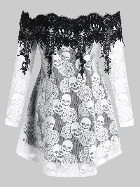Plus Size Off The Shoulder Skull Lace Halloween Tee