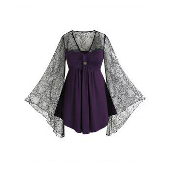 Plus Size Lace Spider Web Sheer Bell Sleeve Tee