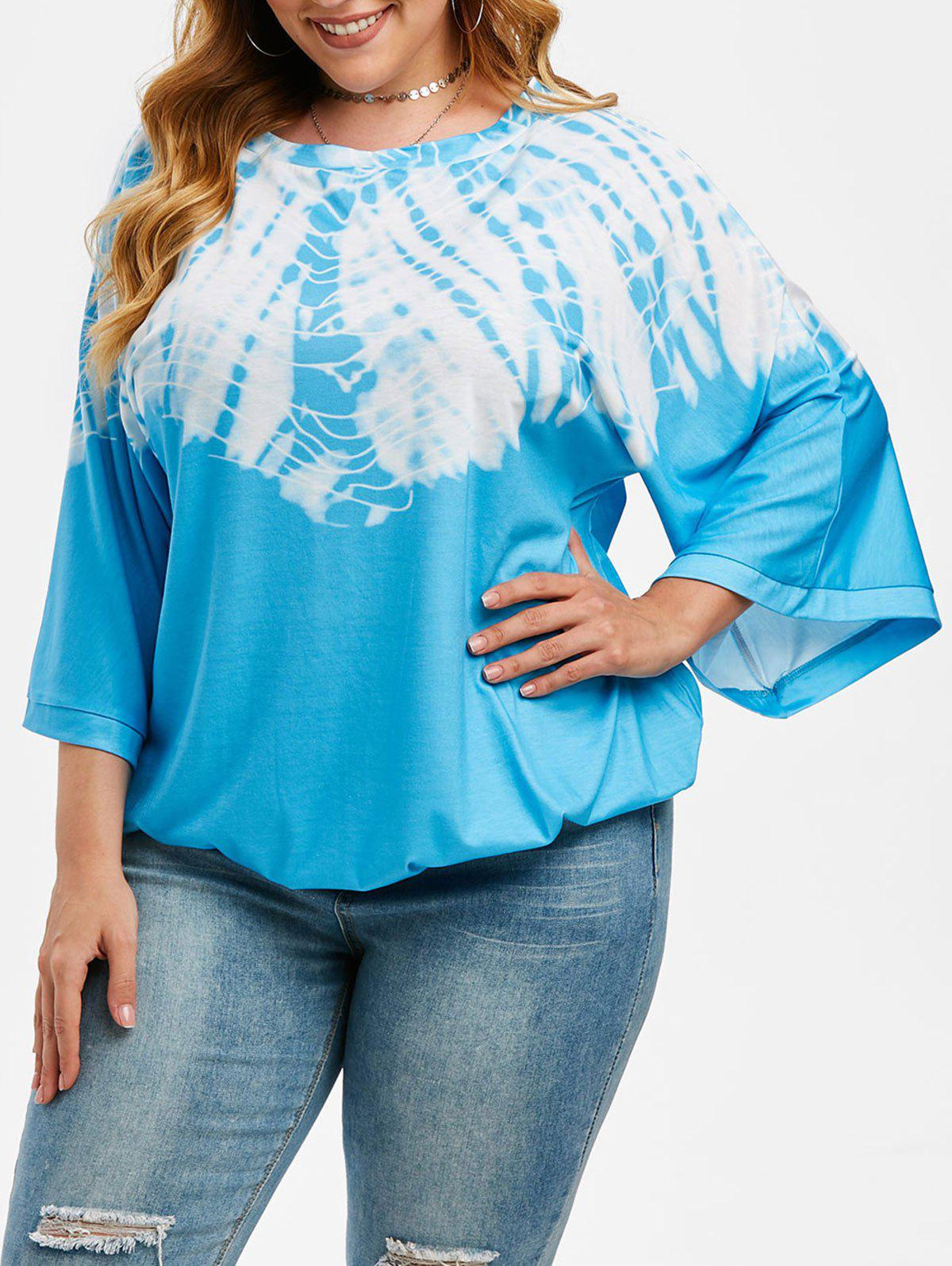 Streak Dye Batwing Sleeve Plus Size Blouson Top - LIGHT BLUE 2XL