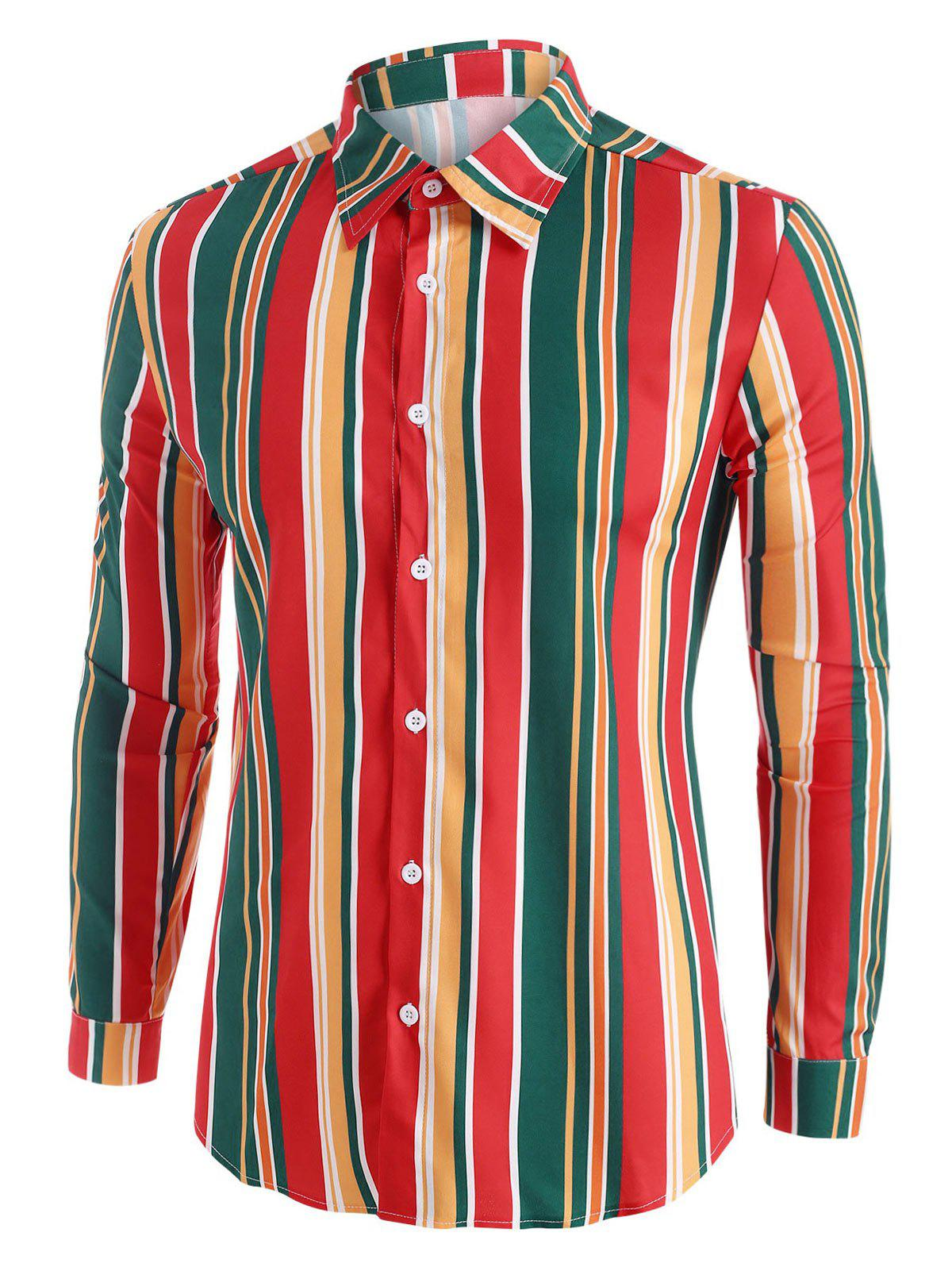 Colorful Striped Button Up Long Sleeve Shirt - multicolor 2XL