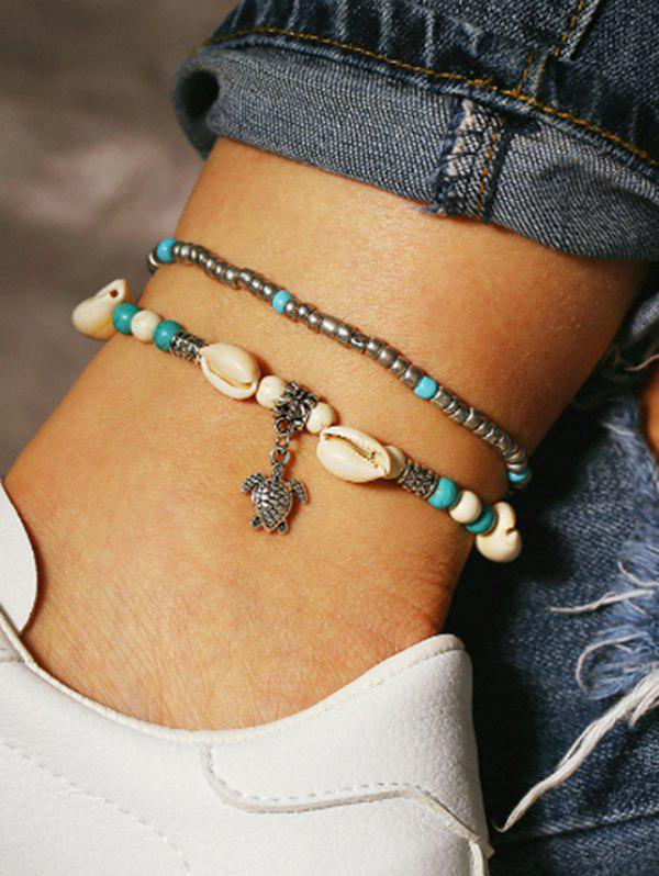 2 Piece Beaded Shell Tortoise Beach Anklets Set - SILVER