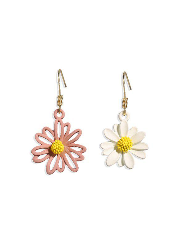 Daisy Floral Asymmetrical Hook Earrings - multicolor C