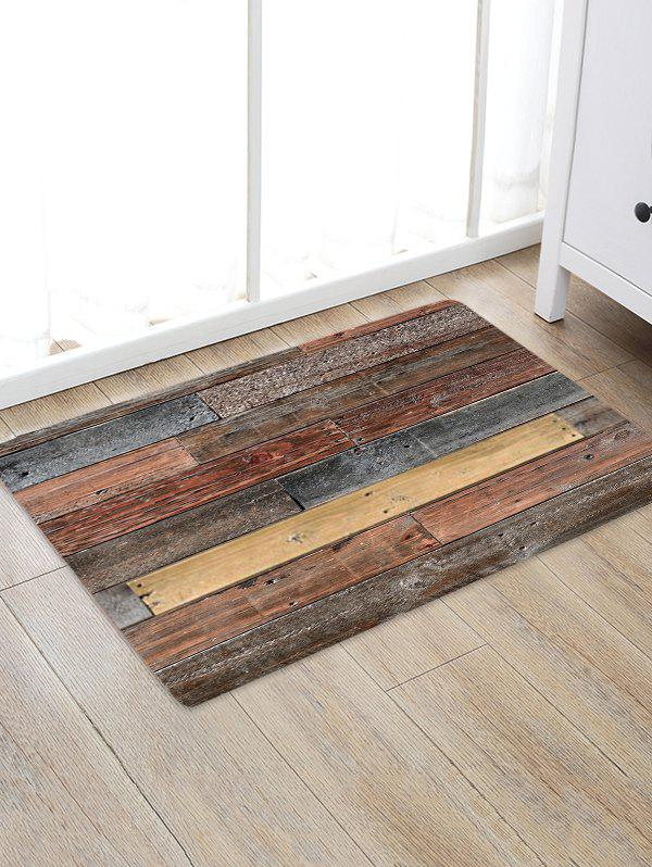 Old Wooden Board Pattern Water Absorption Area Rug - multicolor W16 X L24 INCH