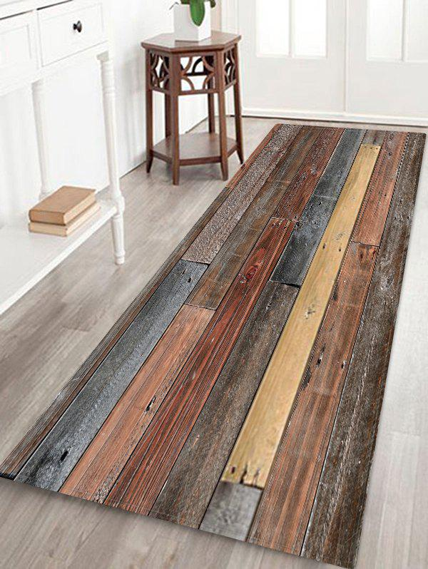 Old Wooden Board Pattern Water Absorption Area Rug - multicolor W24 X L71 INCH