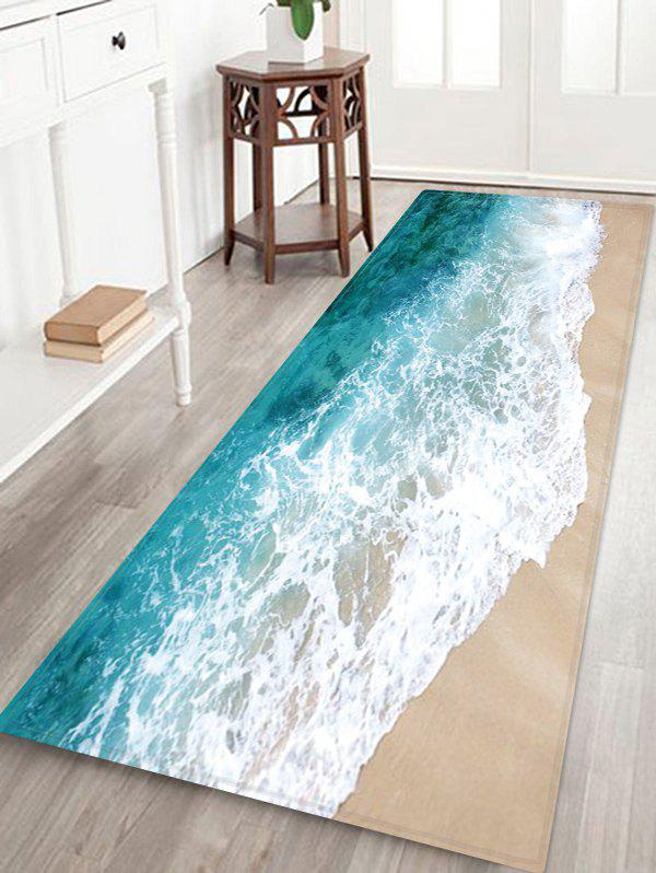 Beach Wave Pattern Water Absorption Floor Area Rug - multicolor W16 X L47 INCH