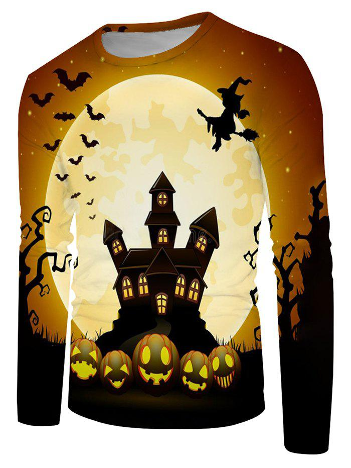Halloween Night Bat Witches Graphic Crew Neck Long Sleeve T Shirt - multicolor 4XL