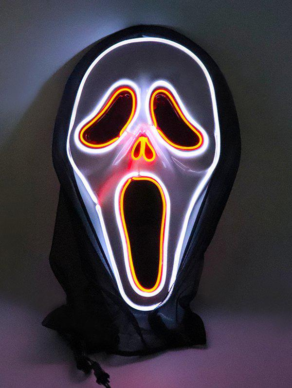 Halloween Cosplay Ghost Pattern Full Face Horror Glowing Mask - multicolor A
