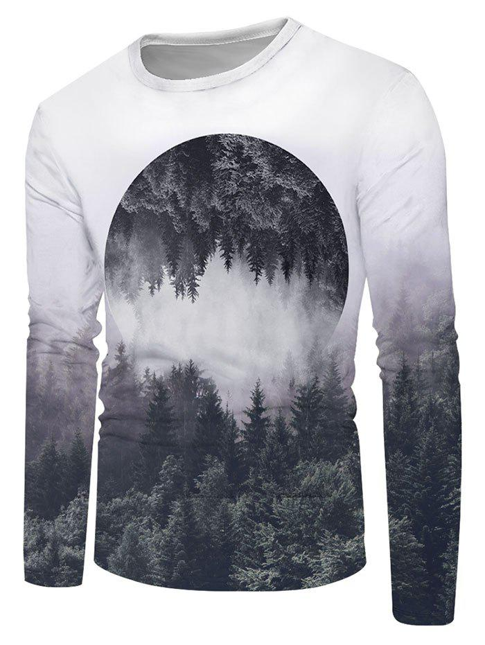 Reflected Forest Graphic Crew Neck Long Sleeve T Shirt - multicolor M