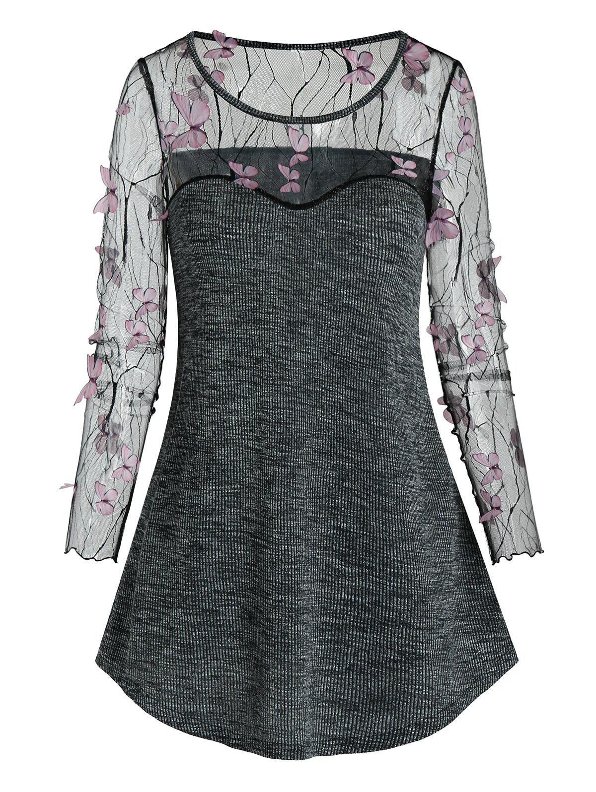 Sheer Butterfly Lace Insert Knitted Casual T Shirt - BLACK L