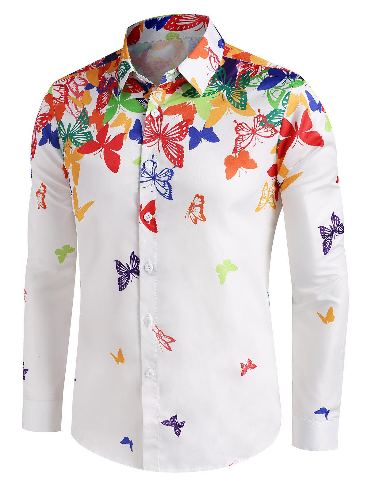 Colorful Butterfly Print Button Up Long Sleeve Shirt - WHITE S