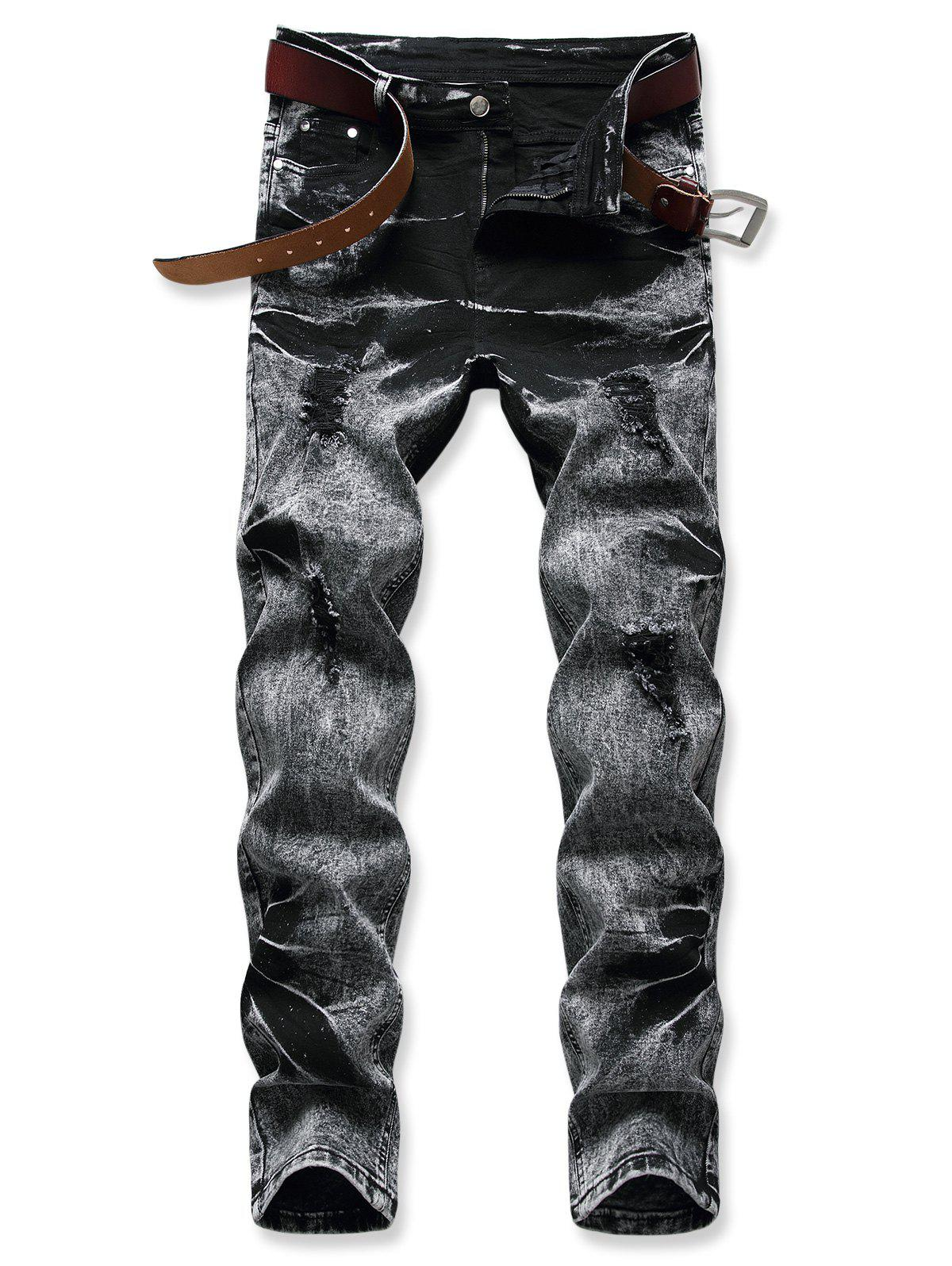 Acid Wash Zipper Fly Distressed Jeans - BLACK 40