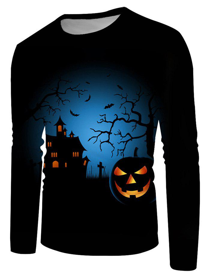Halloween Night Pumpkin Graphic Crew Neck Casual T Shirt - multicolor 2XL