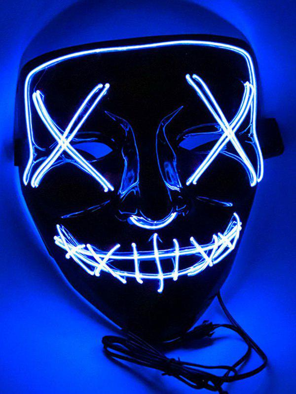 Masque Visage Effrayant Cosplay Lumineux pour Halloween - multicolor A