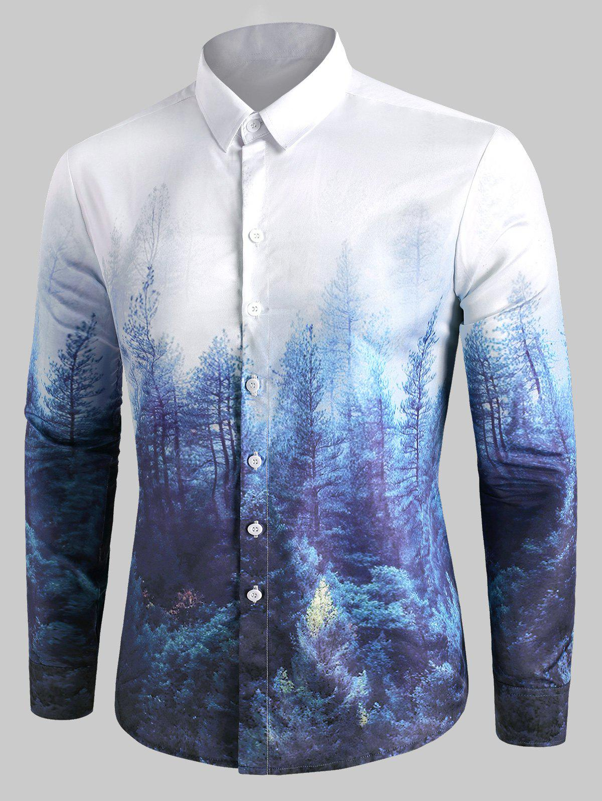 Forest Print Button Up Casual Shirt - multicolor L