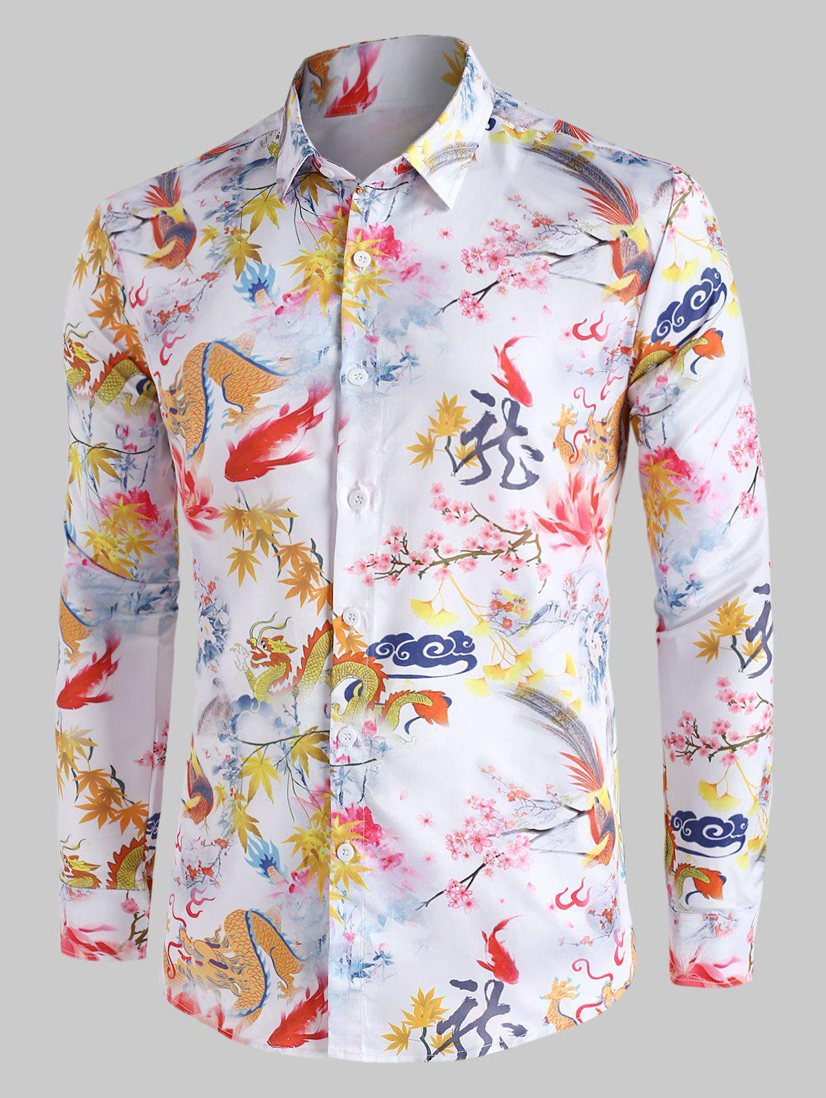 Chinese Dragon Painting Vintage Button Up Shirt - multicolor 2XL