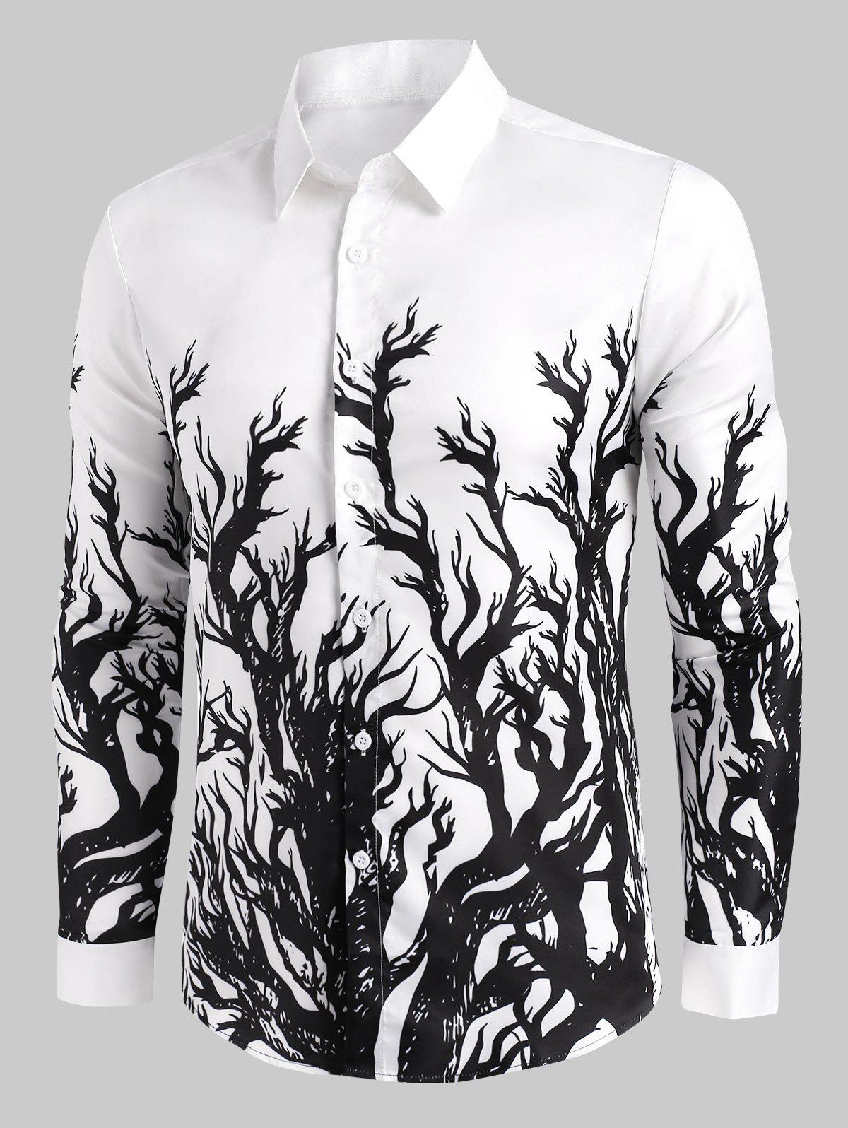 Tree Print Button Up Long Sleeve Shirt - WHITE M
