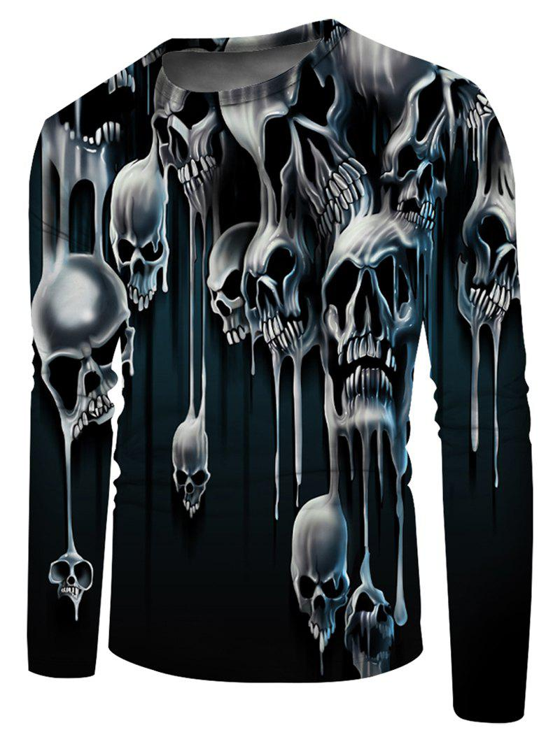 Liquid Skull Print Crew Neck Casual T Shirt - multicolor 2XL