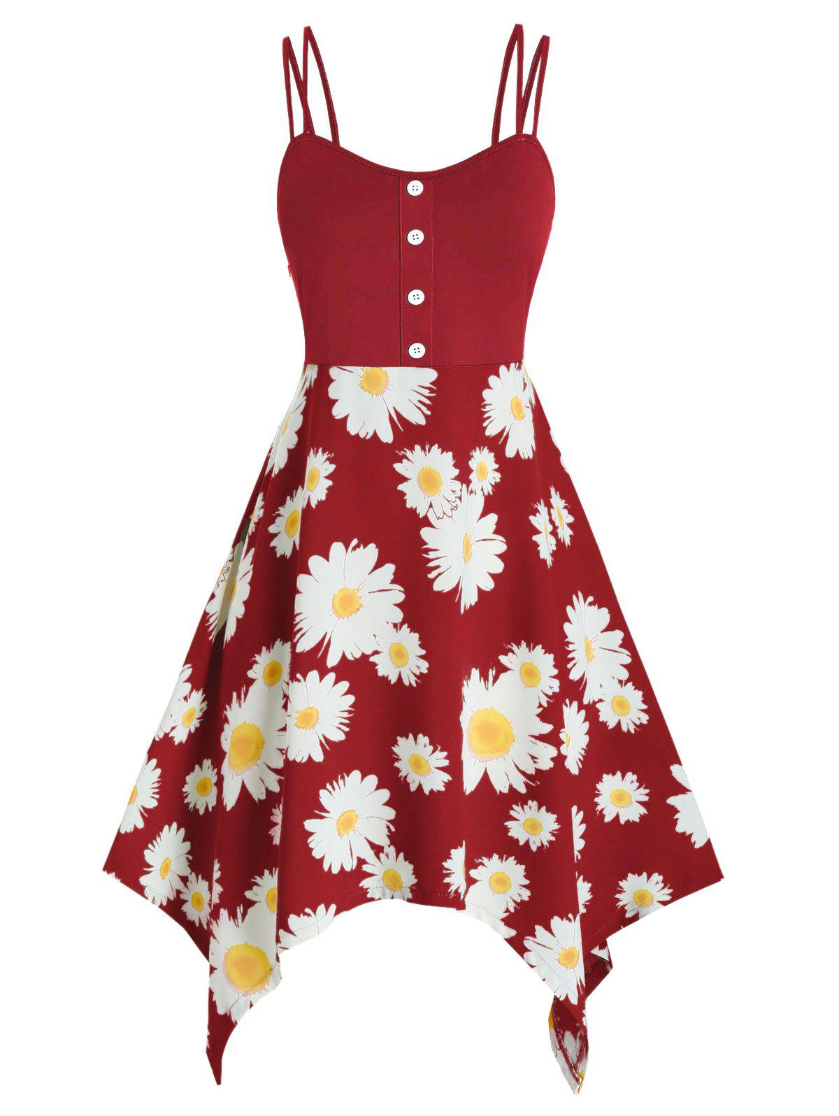 Plus Size Daisy Flower Handkerchief Dual Strap Dress - RED 5X
