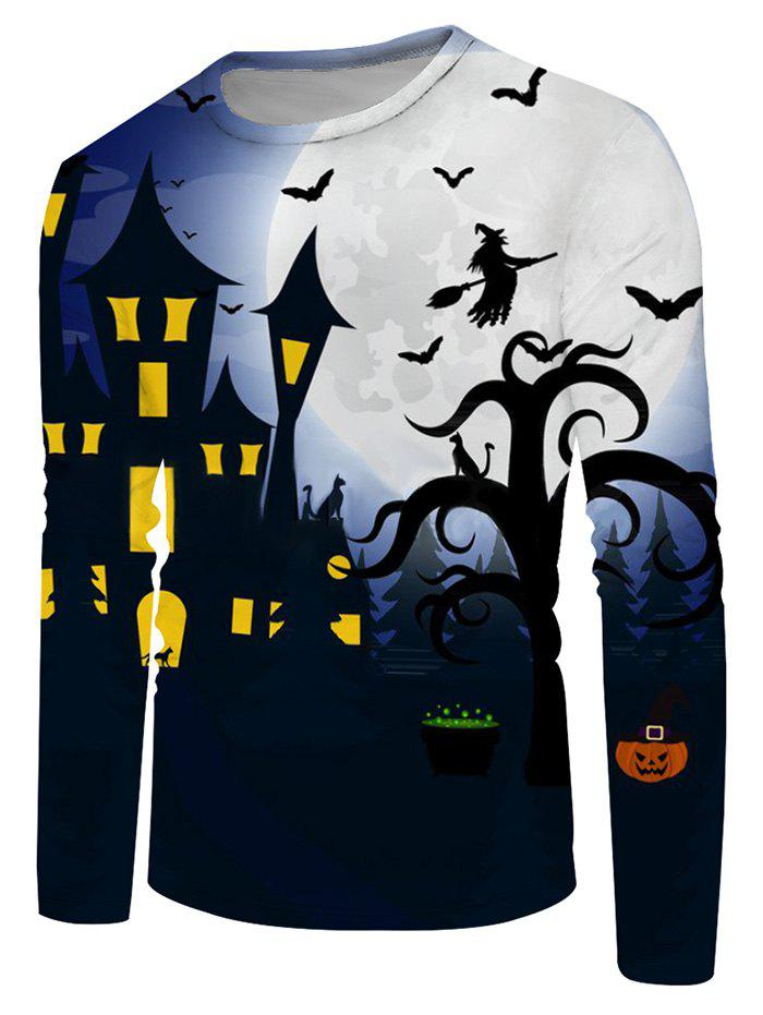 Halloween Bat Witches Night Graphic Crew Neck Long Sleeve T Shirt - multicolor 3XL
