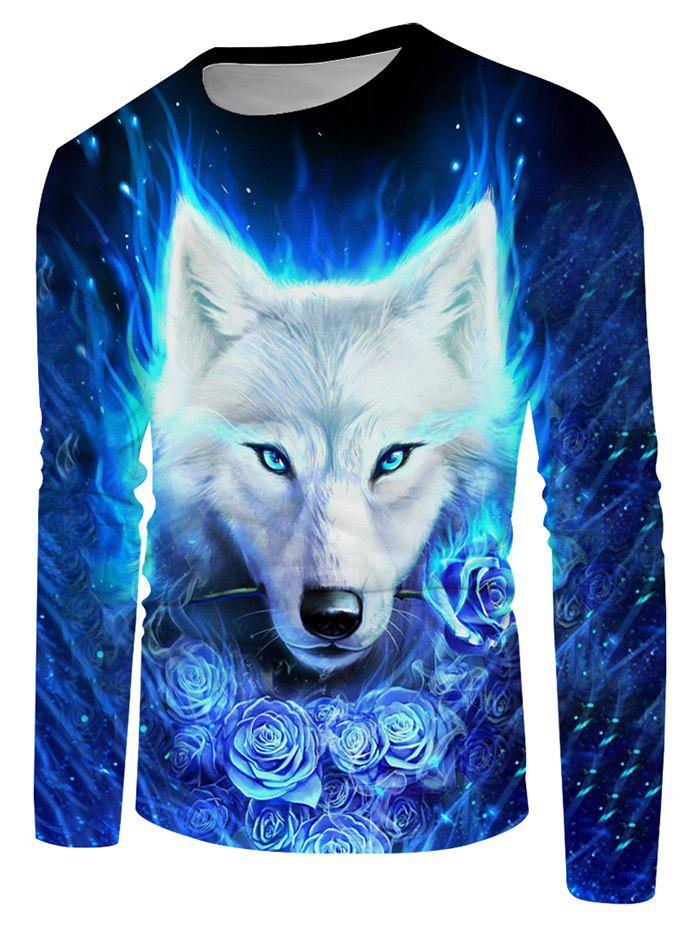 Floral Fire Wolf Graphic Crew Neck Long Sleeve T Shirt - multicolor 4XL