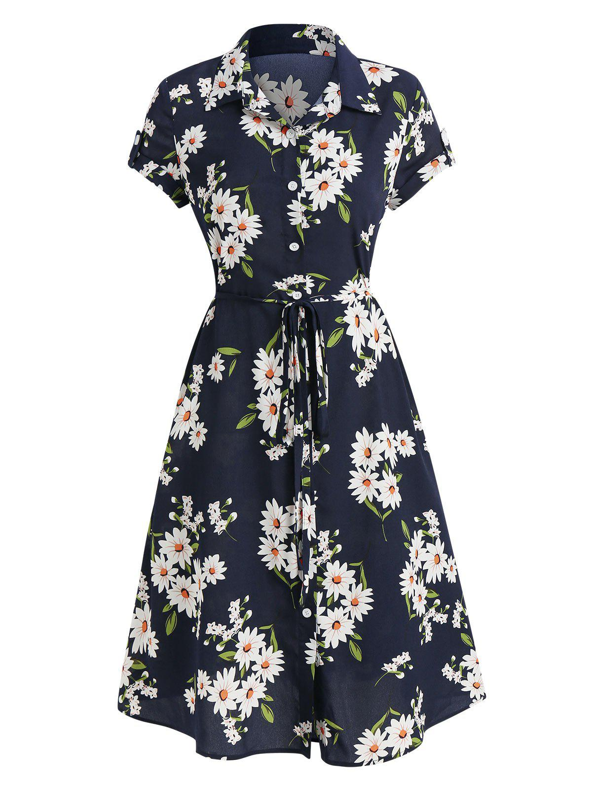 Floral Print Belted Shirt Dress - DARK SLATE BLUE 3XL
