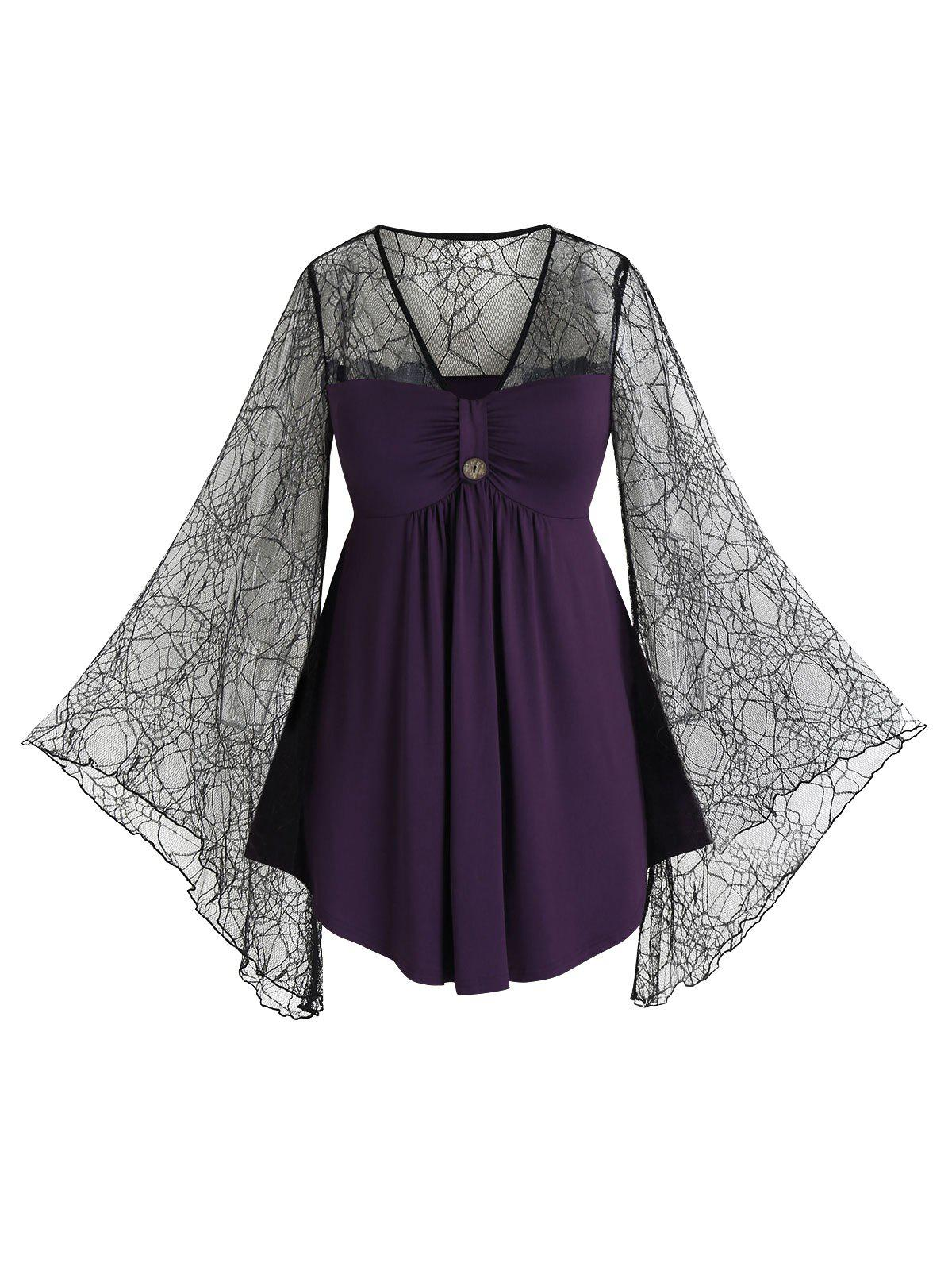 Plus Size Lace Spider Web Sheer Bell Sleeve Tee - PURPLE IRIS 2X