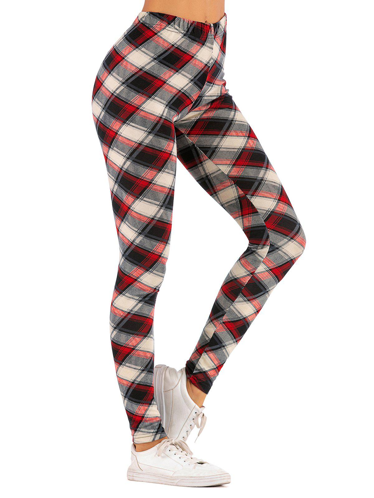 Checked High Rise Leggings - DEEP RED L