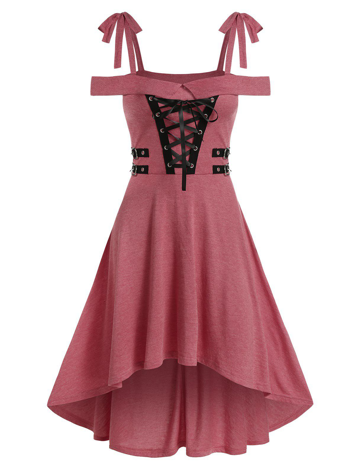 Cold Shoulder Lace-up High Low Gothic Dress - PINK ROSE 2XL