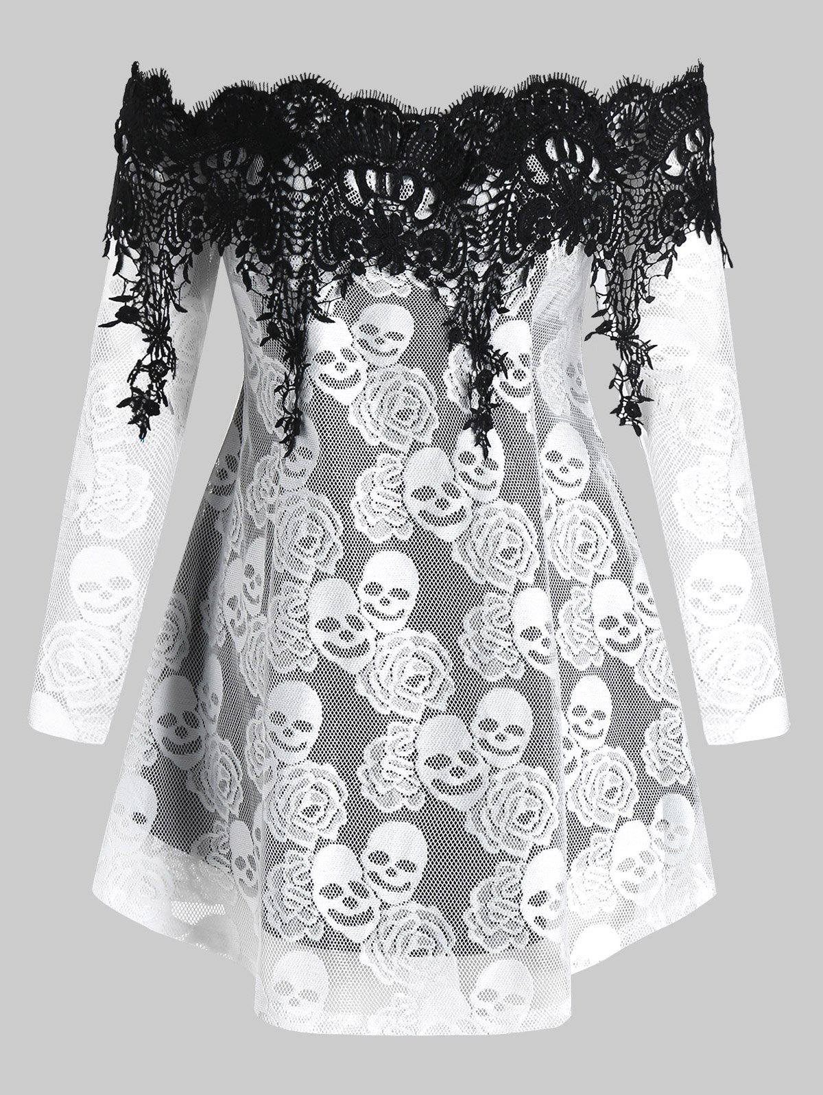 Plus Size Off The Shoulder Skull Lace Halloween Tee - MILK WHITE 4X