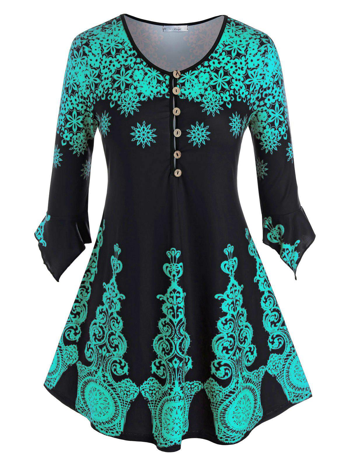 Plus Size Snowflake Print Buttoned Ruffle Cuff Top - DEEP GREEN 5X