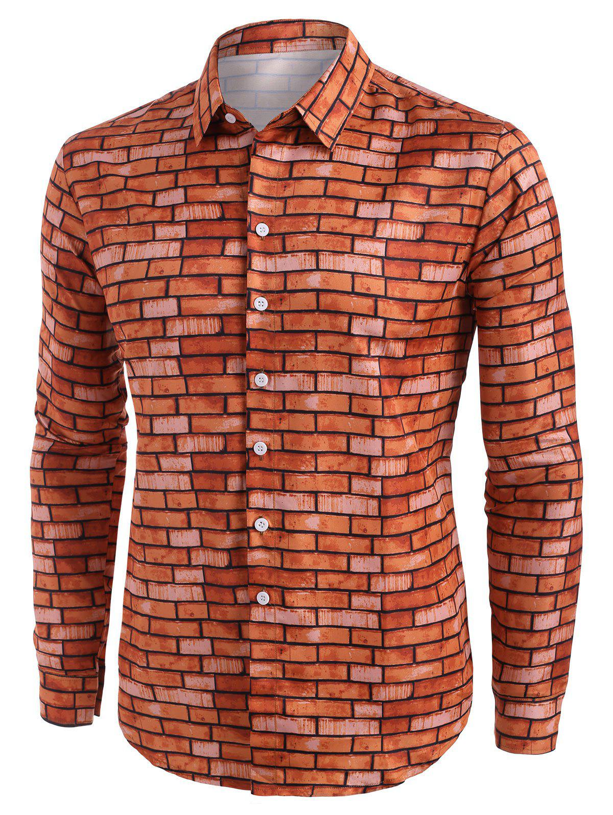 Brick Wall Pattern Button Up Casual Shirt - RED L