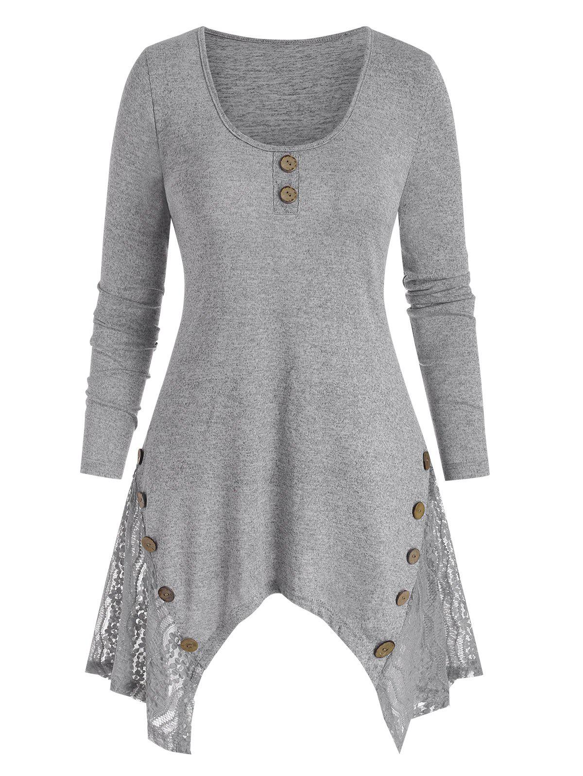 Lace Panel Asymmetrical Buttoned Tunic Knitwear - LIGHT GRAY M