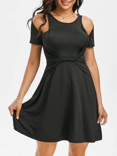 Plain Cold Shoulder Twist Waist A Line Dress
