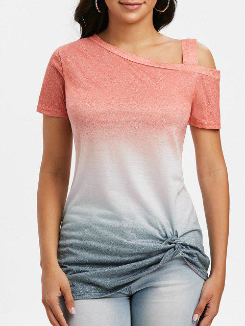 Open Shoulder Gradient Knotted T Shirt