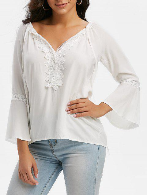 Tie Collar Lace Insert Bell Sleeve Blouse