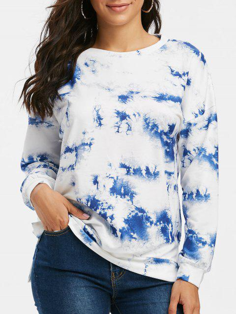 Tie Dye Slit Drop Shoulder Loose Sweatshirt