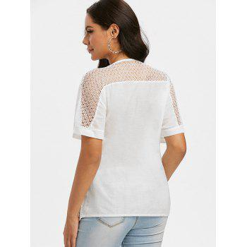 Pure Color Notched Collar Crochet Lace Insert Blouse