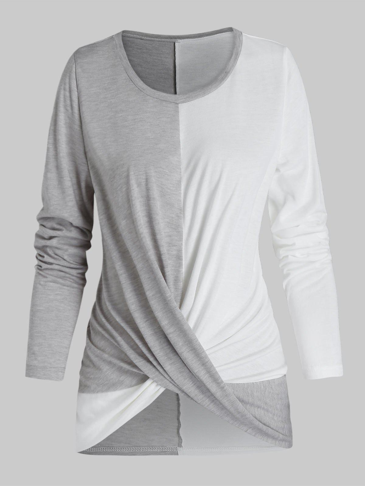 Twist Front Long Sleeve Contrast T-shirt - ASH GRAY 3XL