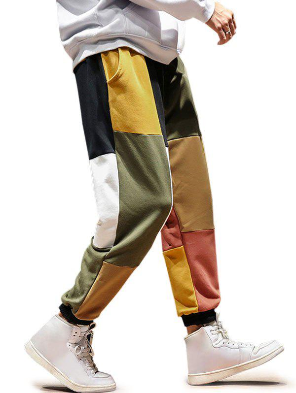 Colorblock Drawstring Beam Feet Pants - multicolor A M