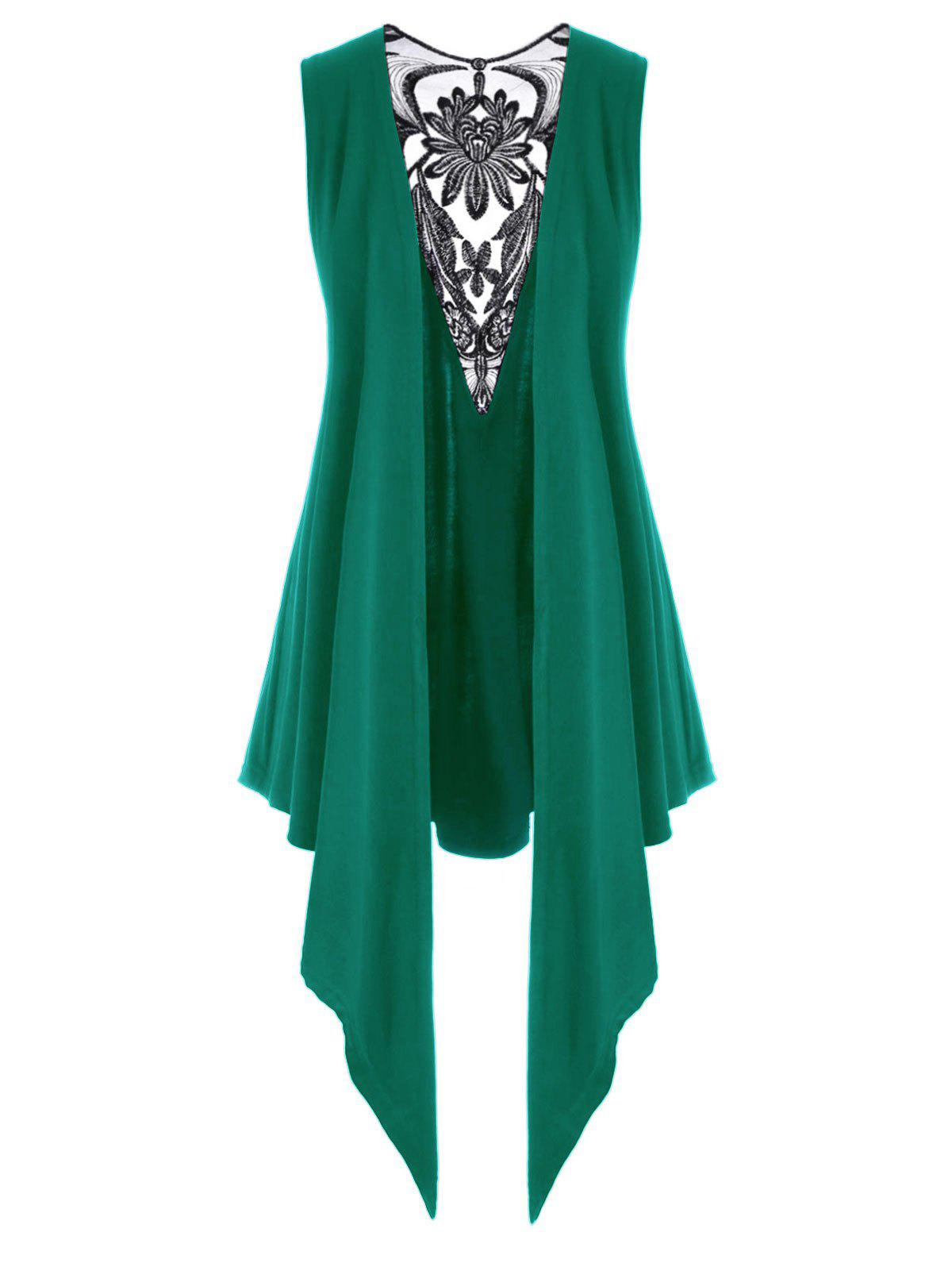 Embroidered Mesh Panel Open Front Plus Size Top - GREEN 5X