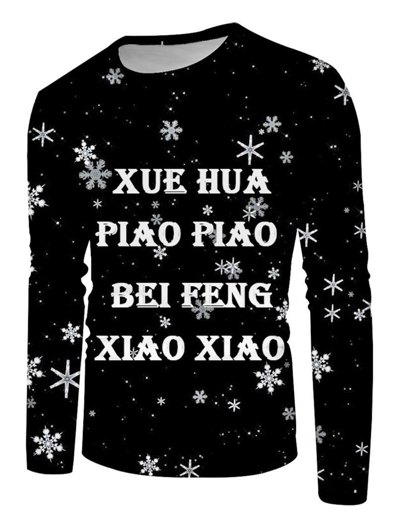 Snowflake Letter Print Long Sleeve T-shirt - multicolor 4XL
