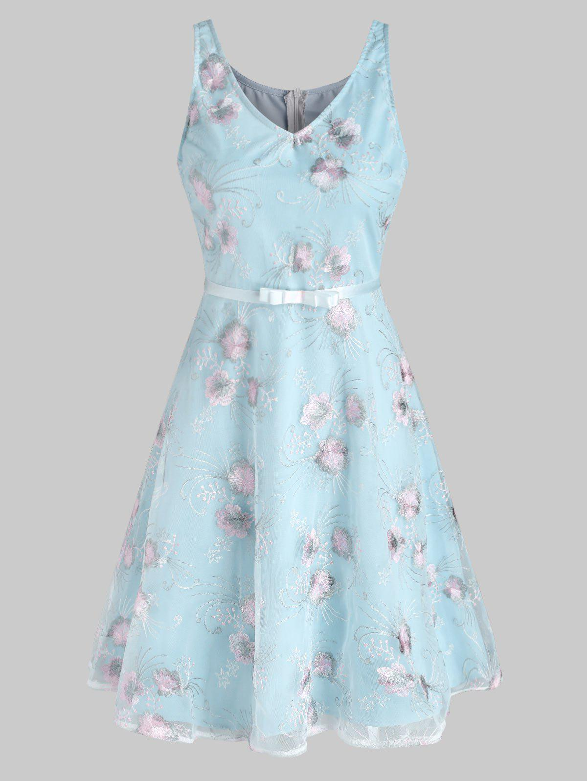 Lace Flower Embroidery Ribbon Belted A Line Dress - LIGHT BLUE S