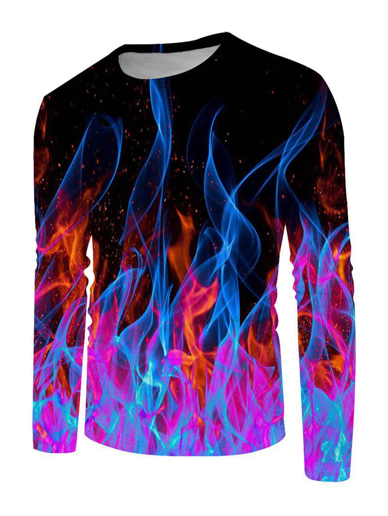 Colorful Flame 3D Print Long Sleeve T-shirt - multicolor 4XL