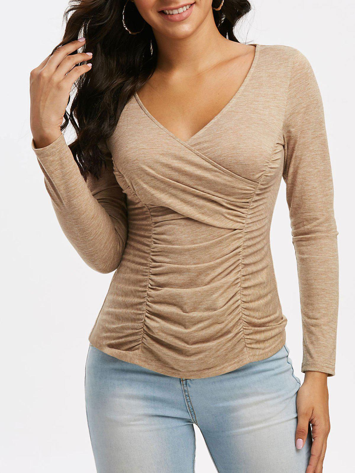 Pure Color V Neck Ruched Surplice T Shirt - LIGHT COFFEE 3XL
