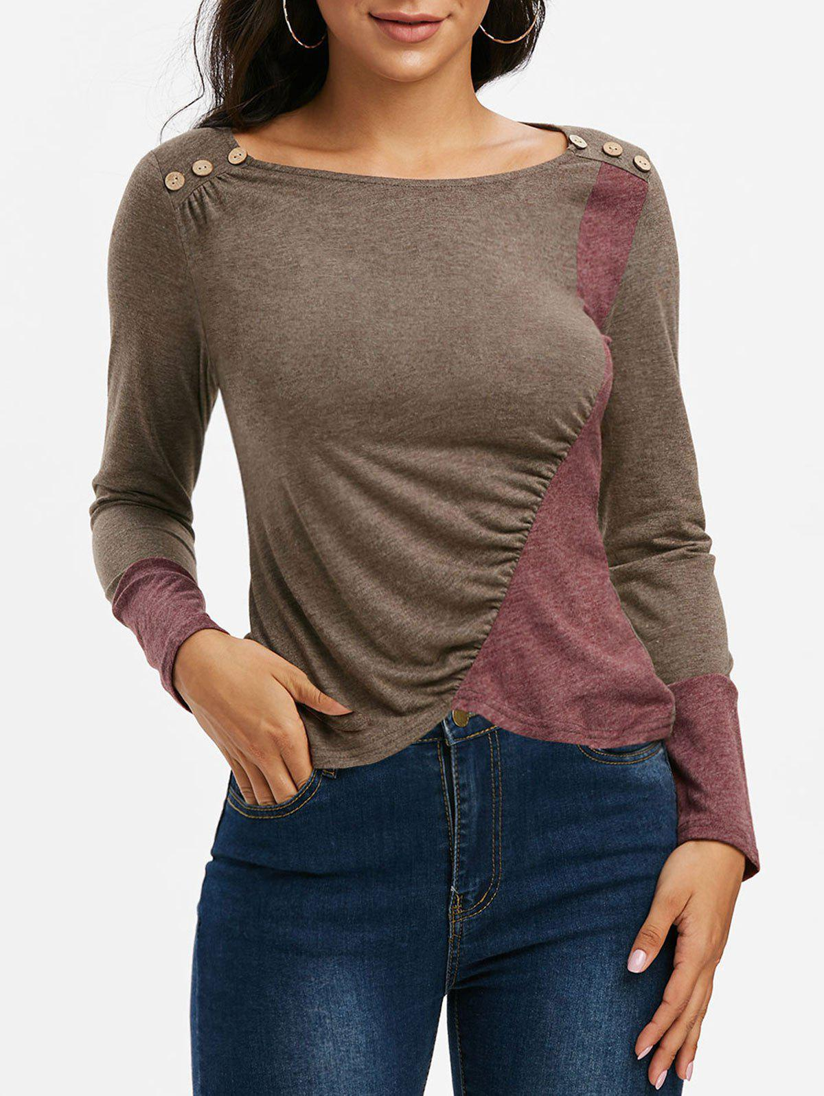 Ruched Contrast Color Asymmetrical Long Sleeve T Shirt - COFFEE M