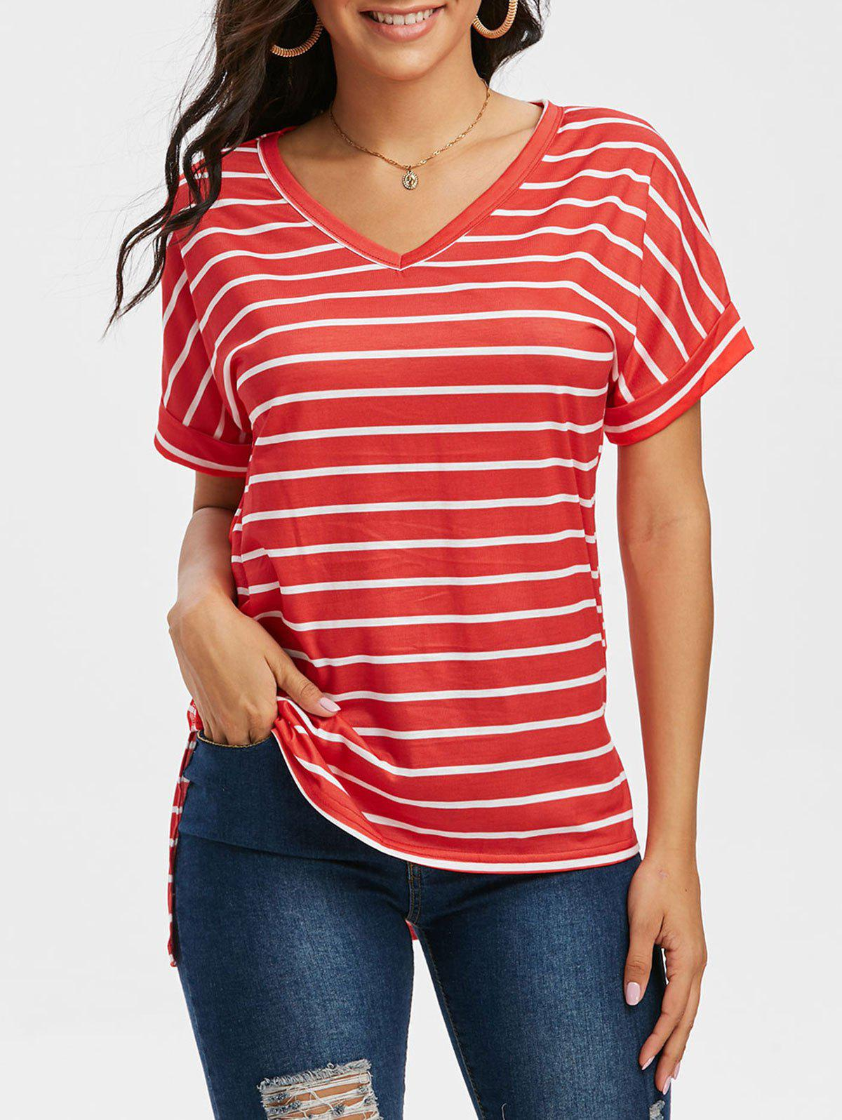 V Neck Striped Side Slit T Shirt - RED XL